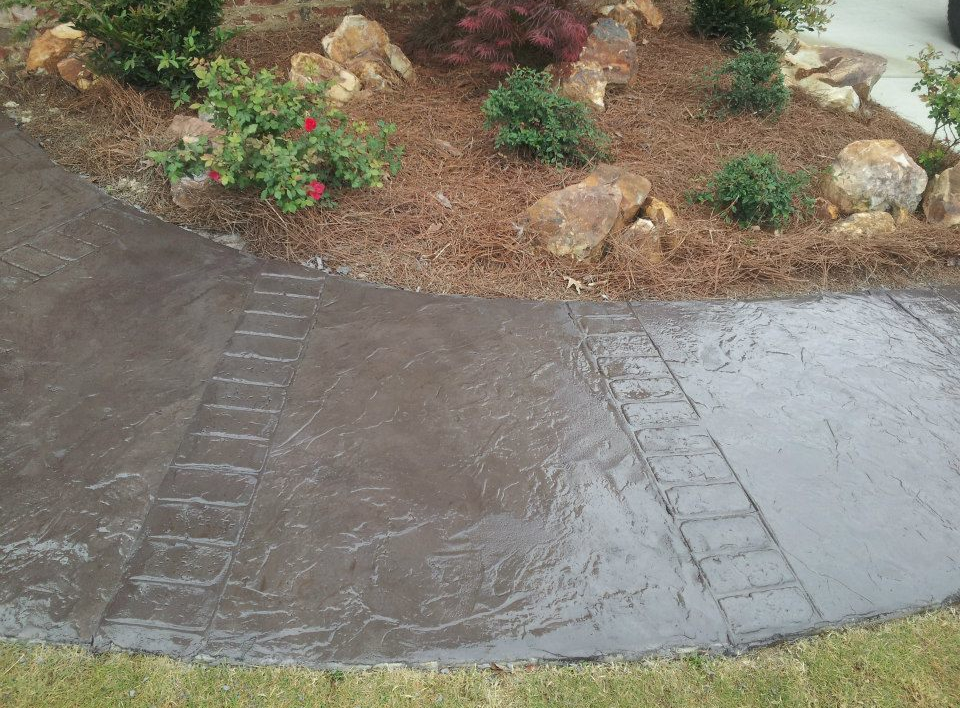 Decorative Stamped Stained Colored Concrete In